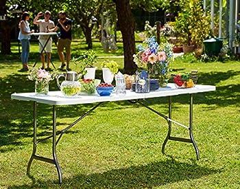 Monzana   Table de Camping ? 240cm ? Pliante ? Plastique Blanc   Table de Jardin, terrasse