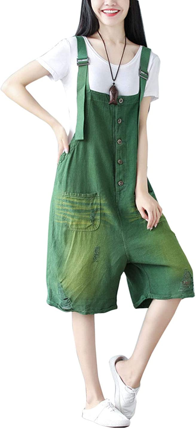 Flygo Women's Ranking overseas TOP17 Loose Cotton Ripped Short Shorts Ju Casual Overall