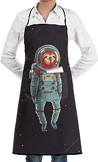 JIDAOSREN Sloth Astronaut Animation Adjustable Bib Apron with Pockets for Women Men Chef,1 Pockets, Waterproof,Home Kitchen Durable Easy Care Apron Fashion Apron Man Women