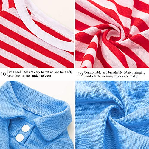 6 Pieces Dog Shirt Pet Shirts Striped Colorful Pet Puppy Apparel Sweatshirt Elastic Breathable Dog Clothes for Small to Medium Dogs Puppy