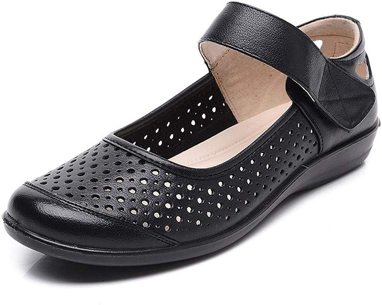 DANNV Flache Flache Flache Sandalen Mit Klettverschluss Hohle Atmungsaktive Schuhe Sommer Casual Arbeitsschuhe schwarz-35(225mm) 583