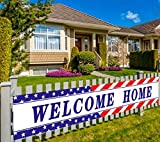 Large Welcome Home Banner Military Army, Homecoming Deployment Return Party Sign Supplies, Outdoor Indoor (9.8 x 1.6 feet)