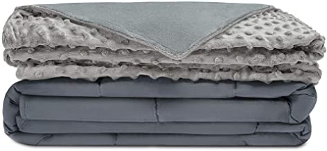 Quility Premium Cotton 60 by 80 in for Full Size Bed 15 lbs Adult Weighted Blanket with Removable Duvet Cover Grey