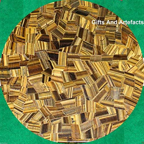 Gifts And Artefakte, gelber Marmor-Tisch für Terrasse, Esstisch, Terrasse, Couchtisch, Tigerauge, zufällige Arbeit, kann im Garten verwendet werden, hergestellt in Indien, 107 cm