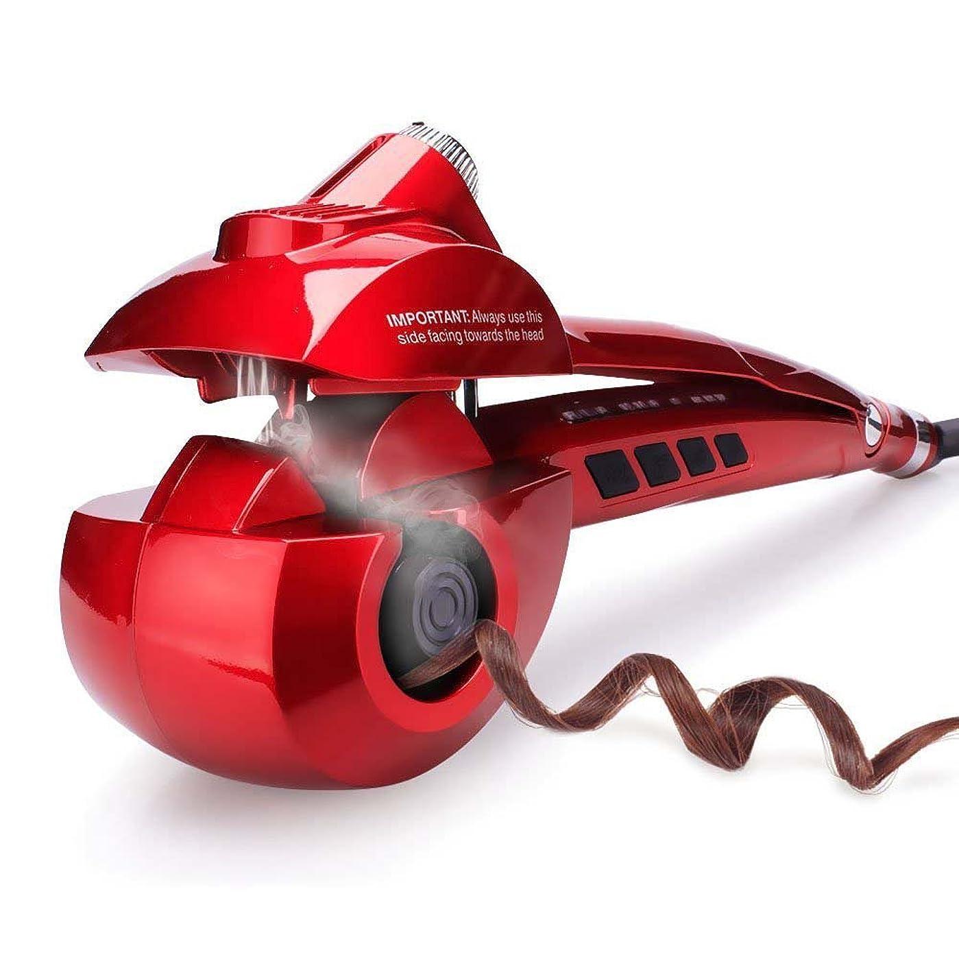 ジャムモデレータハードWinfullyオートカールアイロン ヘアアイロン カール オートカールヘアアイロン スチームヘアアイロン アイロン蒸気 8秒自動巻き 自動巻きヘアアイロン スチーム機能 プロ仕様 海外対応 (Red)