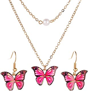 Butterfly Pendant Necklace Earrings Set Fashion Choker Necklaces Jewelry Gift For Women Girls