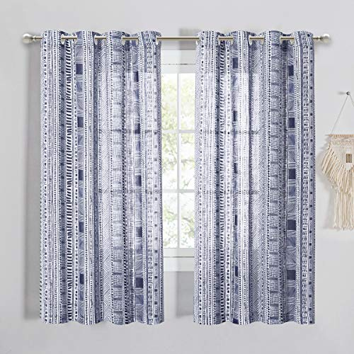 StangH Bohemian Pattern Linen Textured Semi Sheer Curtains Grommet Privacy Window Covering Light Airy for Home Office/Apartment, Blue, 50 inches Wide x 63 inches Long, 2 Panels