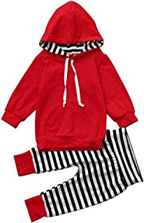 Infant and Toddler Pants Clothing Sets Baby Hooded T-Shirt +Stripe Pants