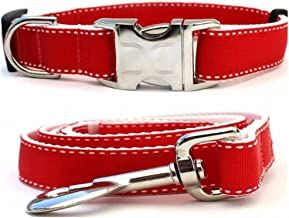 "product image for Diva-Dog 'Preppy Red' Custom 1"" Wide Dog Collar with Plain or Engraved Buckle, Matching Leash Available - M/L, XL"