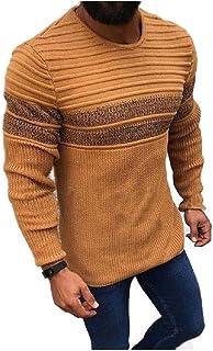 Comaba Men's Long Sleeve Blouse T-shirt Tops Fall Winter Stripe Knitwear