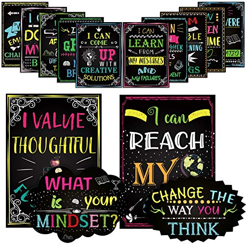 14 Motivational Posters for Classroom What is Your Mindset Bulletin Board Decoration, Inspirational Sign Positive Quote Wall Art I Can for Office Teachers Students School Classroom Decorations