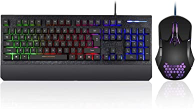 Gaming Keyboard and Mouse Combo Colorful Lights Rainbow LED Backlit Keyboard with Ergonomic Detachable Wrist Rest, Programmable 3000 DPI 7 Button Gaming Mouse for Windows PC Mac Gamer,Office/Gaming