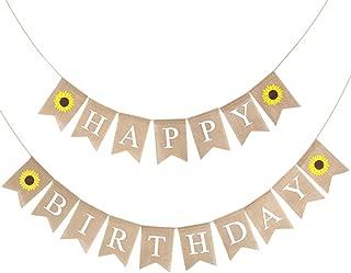 BESTOYARD Birthday Bunting Banner Decorative Burlap Banner Linen Swallowtail Pull Flag Party Supplies (Happy Birthday Letters Sunflower Pattern)