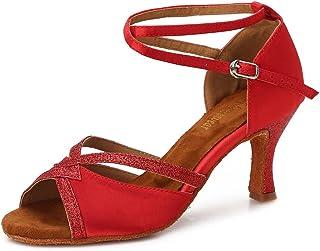 TTdancewear Women Ballroom Dance Shoes Latin Salsa Bachata Performance Sparkly Dance Dancing Shoes