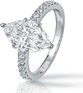 1.25 Ctw 14K White Gold Classic Side Stone Marquise Cut GIA Certified Diamond Engagement Ring (1 Ct K Color SI2 Clarity Center Stone)
