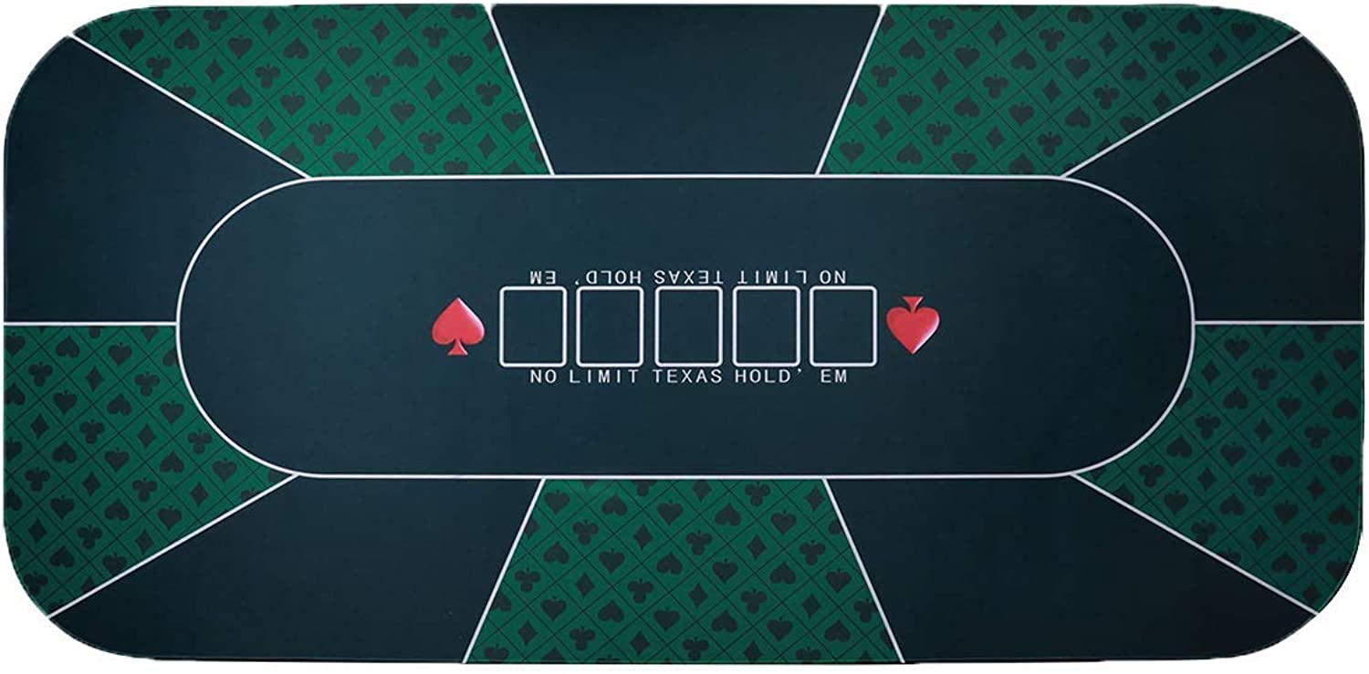 ZBW Professional Sure Sick Rubber Foam Poker Table Top Layout for Up to 8 Players to Play Cards Poker Mat