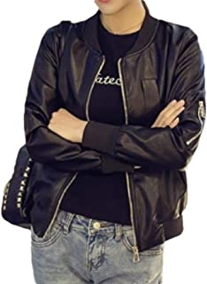 Howely Women Baseball Casual Leisure Pocket Biker PU Leather Jackets with Zips