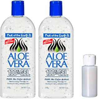 Fruit Of The Earth Aloe Vera 100% Gel, Crystal Clear - 12oz 2 Pack with 1 oz Empty Travel Size Bottle