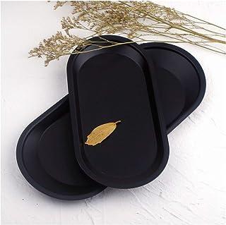 Tangger 2 Stk Placa de Metal de Acero Inoxidable Negro,Bandeja de Metal Ovalada para Bocadillos de Mesa Frutas Joyas Cosméticos Postres Velas,Bandeja de Almacenamiento Pequeña de Escritorio