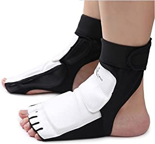 CTHOPE Foot Protector Gear Leather Feet Guard Ankle Support for Men Women Kids TaekwondoTraining Boxing Kickboxing Punch Bag Martial Arts Fight Kung Fu