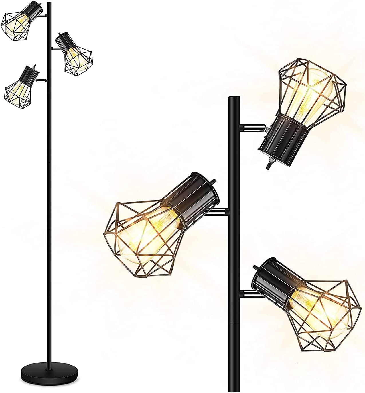Industrial Floor Lamp Standing Adjustable Heads Latest item Free Cage shipping
