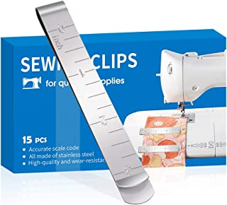Sewing Clips Set of 15 Stainless Steel Hemming Clips 3 Inches Measurement Ruler Quilting Supplies for Wonder Clips, Pinnin...