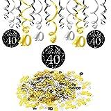 Konsait 40 cumpleaños Negro Colgar Remolino decoración de Techo (15 Cuentas), Feliz cumpleaños & 40 Mesa Confeti (1.05 oz) para Decoraciones de 40 cumpleaños Mujer Hombre
