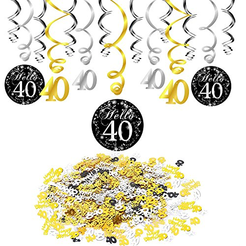 Konsait 40e Anniversaire Décoration, Noir 40e Anniversaire Hanging Swirl (15 pcs), Joyeux Anniversaire & Celebration 40e Table confettis Suspension Tourbillon Plafond Decor pour Anniversaire 40 Ans