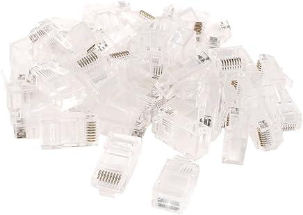 sourcing map Jack Plug modulare Trasparente 50 PCS RJ45 8P8C Network LAN CAT5E CAT6