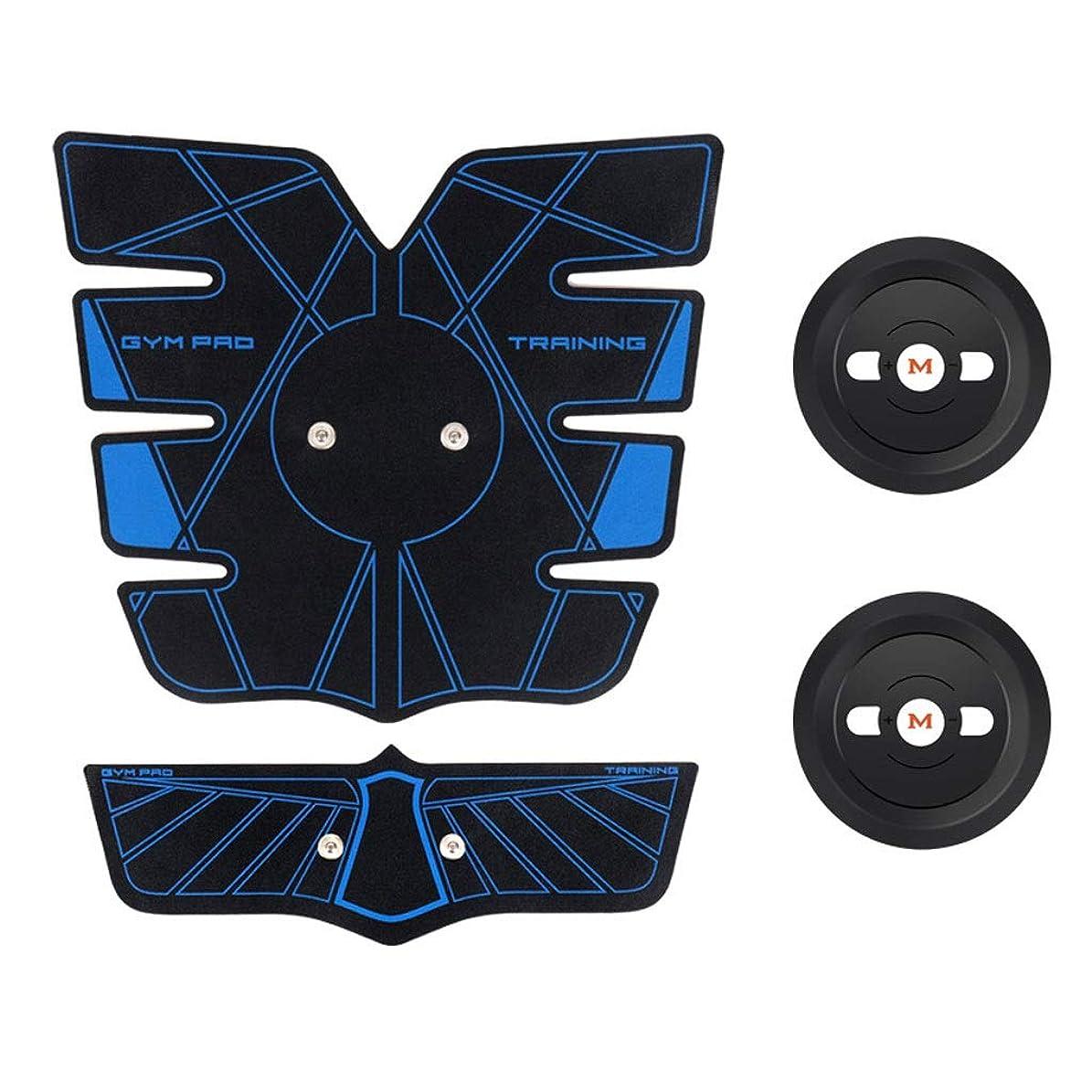 腹部筋肉トレーナーEMS腹部トレーナー筋肉刺激装置アブトーニングベルトウエストトレーナー腹サポートベルトジムトレーニングエクササイズマシンホームフィットネス (Color : Blue, Size : C)