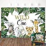 Mocsicka Safari Wild One Backdrop Safari Animal First Birthday Party Background Jungle Boy 1st Birthday Party Decorations Photography Background (7x5ft)