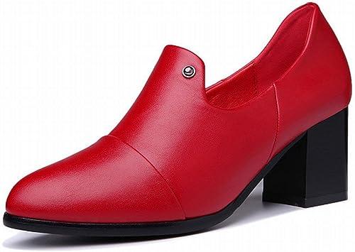 Oudan Point épais avec Une Seule Chaussures à Talons Hauts Chaussures Les Les dames Chaussures Britanniques Les Les dames Chaussures (Couleuré   Vin Rouge, Taille   EU 40)