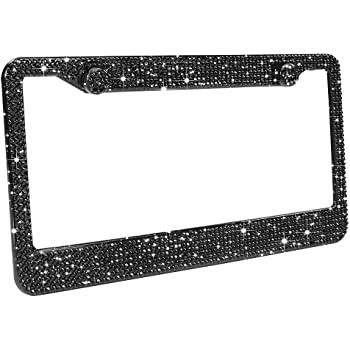 Black Bling Screw Caps for Rhinestonel License Plate Frame,White Screw Caps with Installation Tool Set