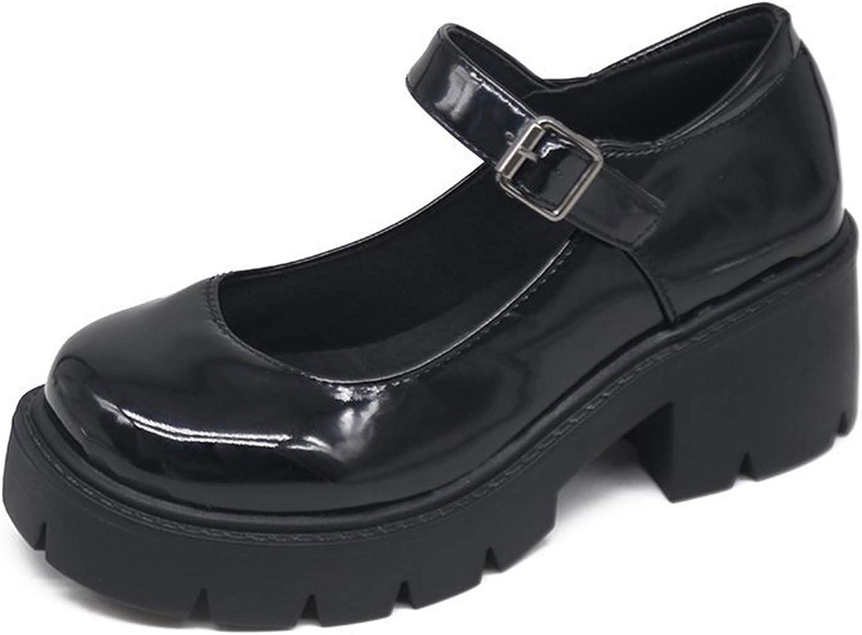 Womens Girls Mary Jane Ankle Strap Block Heel Lolita Pumps Dress Shoes Plus size