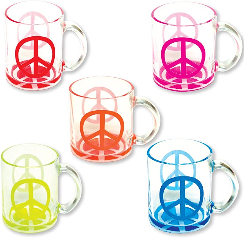 Mugs Set Of 5 Glass Coffee And Tea Cups 11 Ounces LIMITED EDITION Series Neon Peace Sign Great For Any Beverage And Makes A Great Gift Of Souvenir Collectible