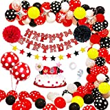 APERIL Palloncini Compleanno Bambina, Festa Compleanno Decorazioni Rosse Nere per Ragazze, Palloncini a Pois Striscioni di Buon Compleanno Pompoms Decorazioni Torta, per Primo Compleanno Battesimo