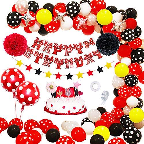 APERIL Globos de Cumpleaños Niña Decoracion Cumpleaños Fiesta Tema Rojo Negros,  Feliz Cumpleaños Pancarta Papel Pompom Globos de Lunares Decoracion Tarta Cumpleaños para Primer Cumpleaños