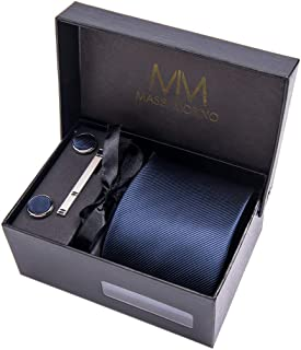 Massi Morino Ties for men I Necktie Set with Handkerchief Cufflinks and Tie Clip I Gift box for wedding w/men accessories