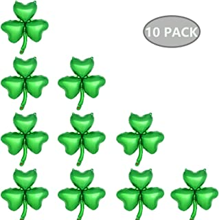 Shamrock Balloons Set of 10, Green Clover Balloons St.Patrick's Day Irish Festival Decorations Kit Fit for Green Themed Party Supplies, 17.8 x 19.2 inch (Uninflated)