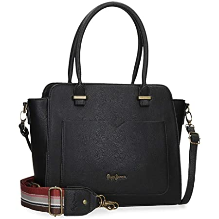 Pepe Jeans India Handtasche Schwarz 29x25x12 cms Synthetisches Leder