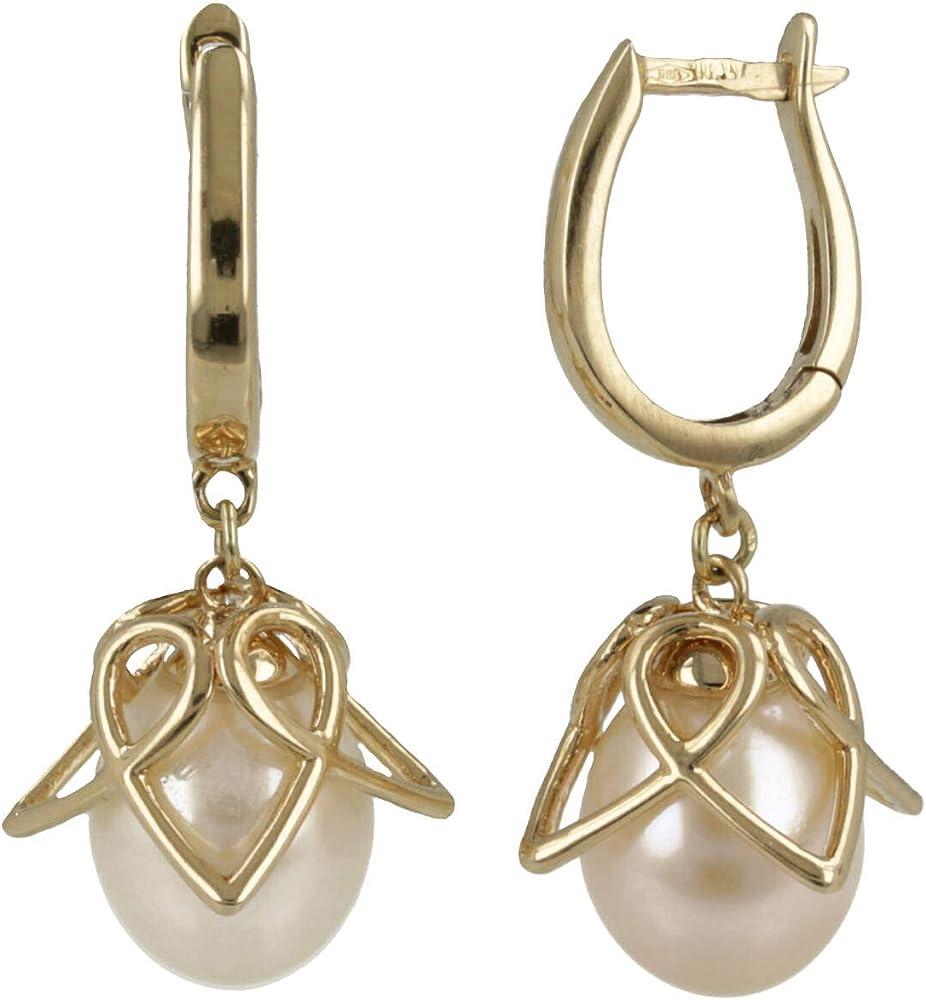 Gioiello italiano - orecchini in oro giallo 14kt con perle coltivate 14or0800