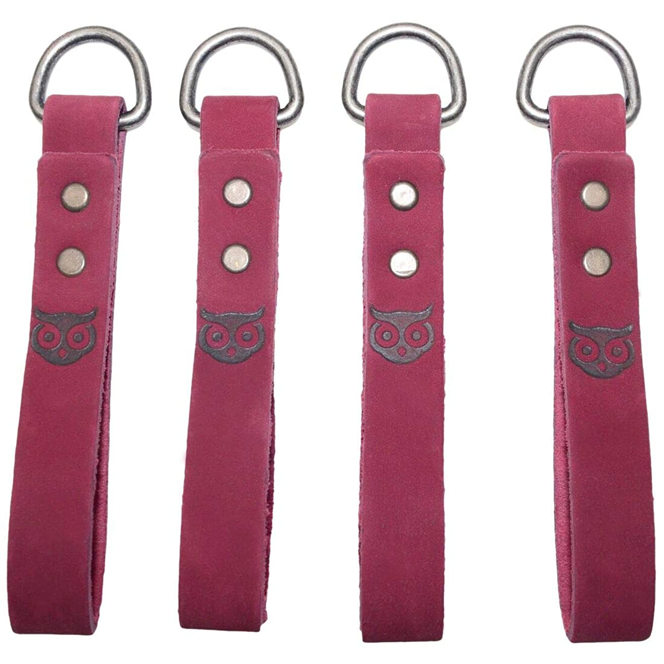 Thick Leather Heavy Duty Tool Belt Accessories Suspender Loop Attachment (4-Pack) Handmade by Hide & Drink :: Red Velvet Suede