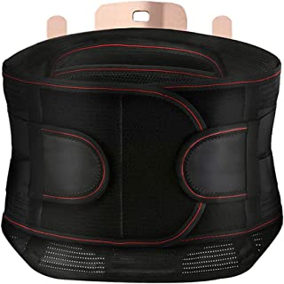 TOMSHOO Back Braces Support Belt Lumbar Brace for Relief Back Pain Sciatica- Compression Belt for Men and Women-with Breathable Mesh Design -Adjustable ABS Buckles -Three Replaceable Lumbar Pads
