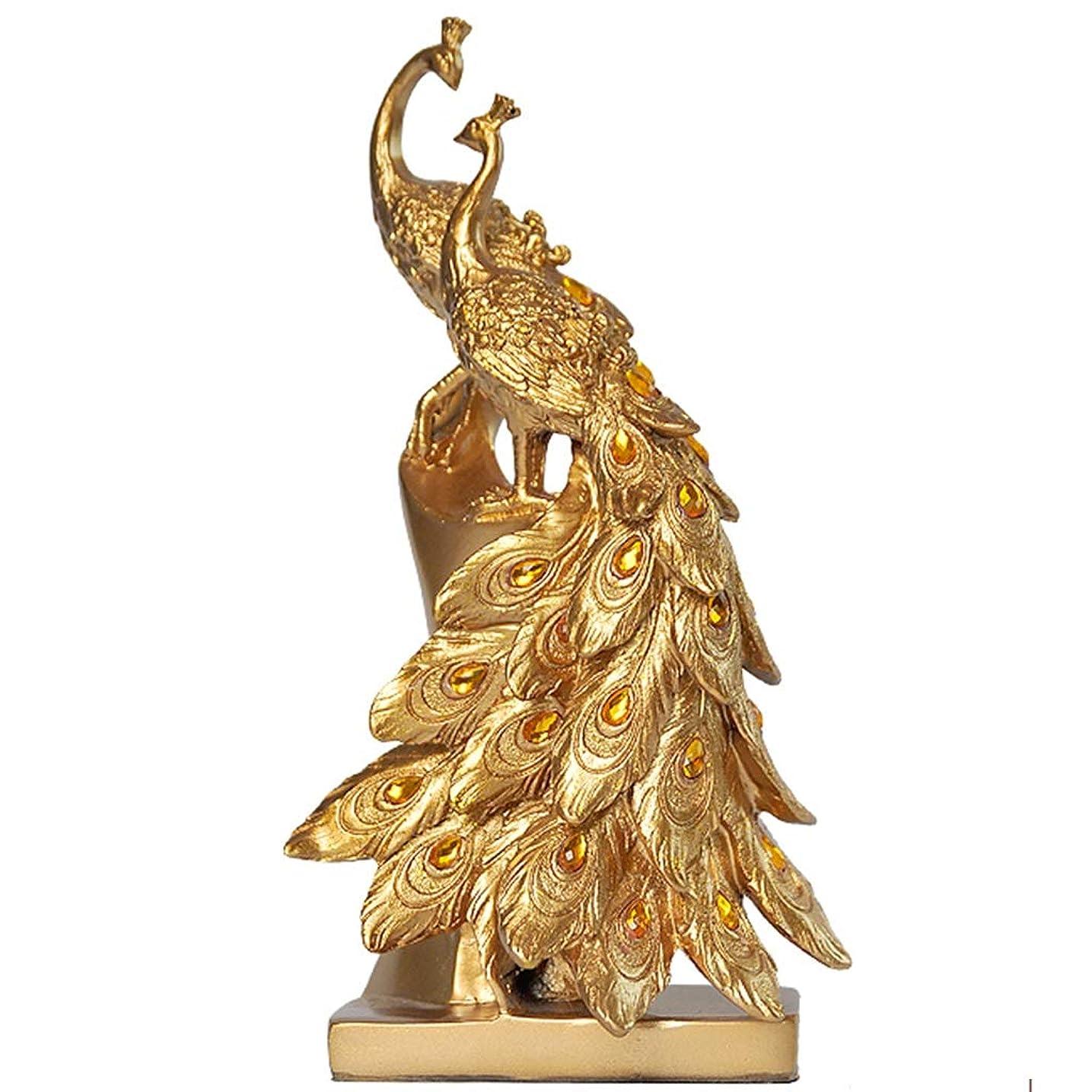 少しレビュー墓置物?オブジェ 孔雀のペア、かわいいヴィンテージの装飾品、オフィスホームギフト (Color : Gold, Size : 15*10*28cm)