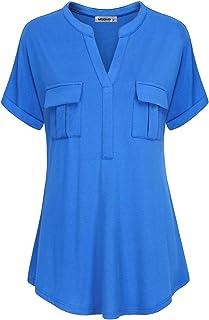MOQIVGI Womens Short Sleeve Notch V Neck Fashion T-Shirts Summer Blouse Tops