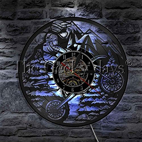 CCGGG Montar en Motocicleta Disco de Vinilo Reloj de Pared Deportes Motocicleta Moderno Creativo decoración del hogar Reloj de Arte Creativo con Luces LED