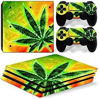 ZOOMHITSKINS PS4 Pro Console and Controller Skins, Cool Leave Green Herb Custom Leaf Floral Yellow Happy High Quality, Dur...
