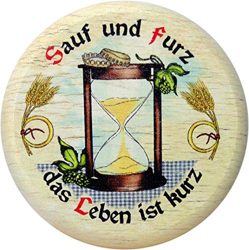 Kaltner Präsente Cadeau-idee – bescherming tegen insecten voor glazen en dranken van echt hout/bierdeksel bierglazen wijnglazen kopjes biertuin/motief humor - Sauf und furz das Leben ist kort