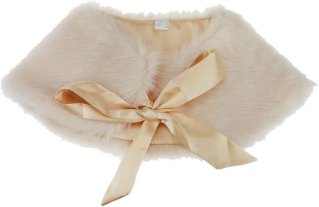 FakeFace Flower Girls Faux Fur Shoulder Cape Winter Warm Party Wedding Wraps Capelets Clothes