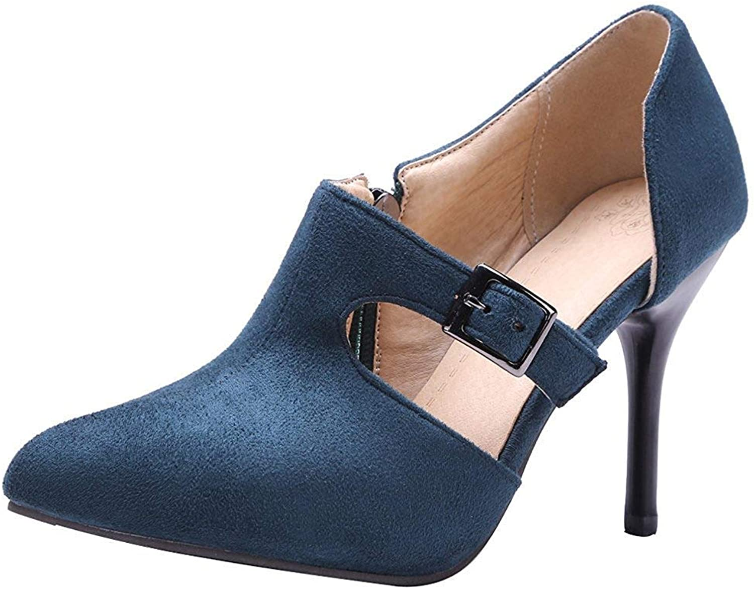 Ghapwe Women's Stylish Pointed Toe Pump - Faux Suede Cut Out Buckle Belt - Stiletto High Heels shoes with Zipper Black 4 M US